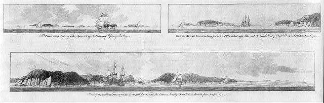 [Views from offshore of islands in the Bay of Fundy and the entrance to the Saint John River on the mainland]