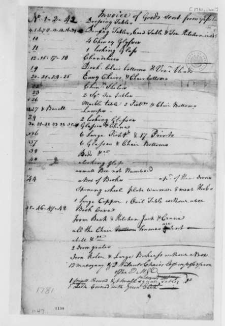 Virginia Governor's Palace, January 1780, Invoice for Goods Sent
