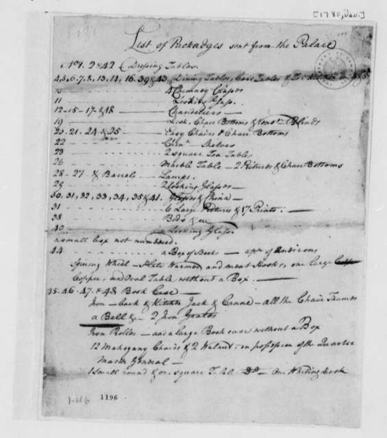 Virginia Governor's Palace, January 1780, List of Packages Sent