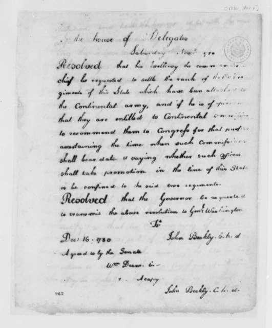 Virginia House of Delegates, November 2, 1780, Resolution on Virginia Regiments