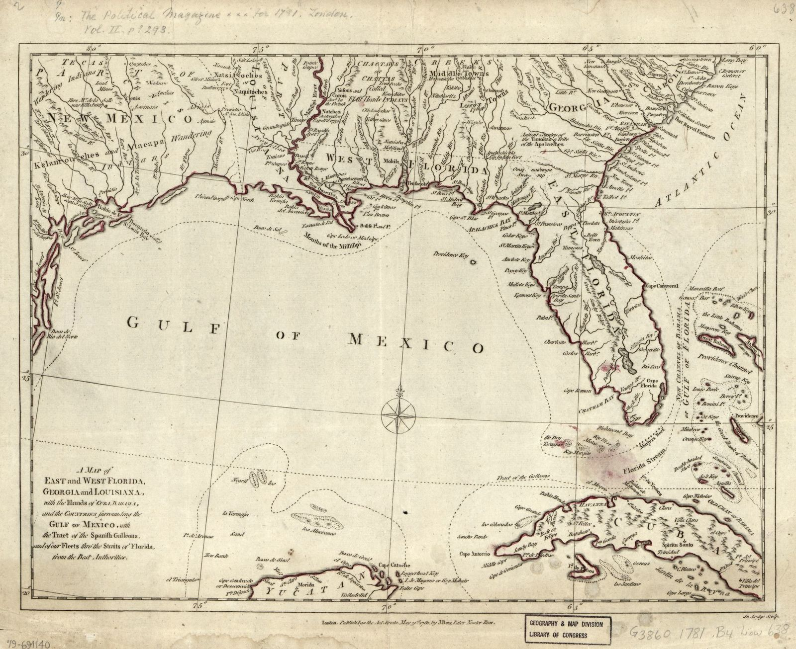 Florida And Georgia Map.A Map Of East And West Florida Georgia And Louisiana With The