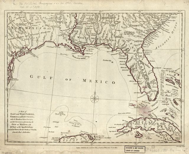 A map of East and West Florida, Georgia, and Louisiana : with the islands of Cuba, Bahama, and the countries surrounding the Gulf of Mexico, with the tract of the Spanish galleons, and of our fleets thro' the Straits of Florida, from the best authorities /
