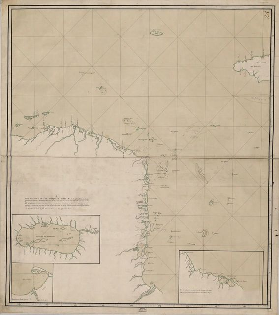 A map or chart of the Mosquito Shore : with the islands, keys, rocks and shoals, adjacent to (or between) it and Iamaica /