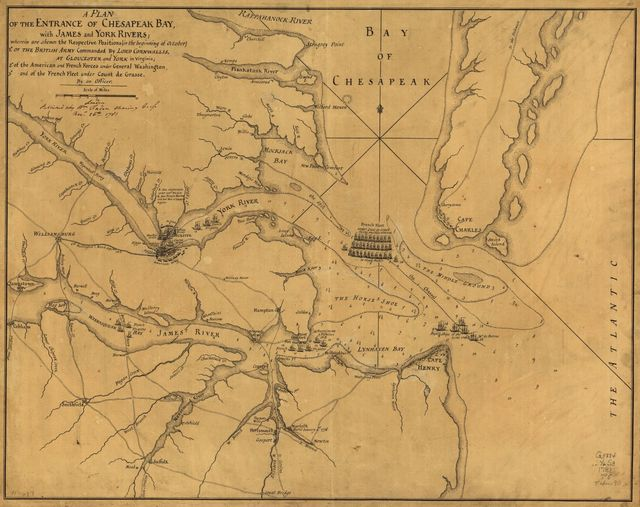 A Plan of the entrance of Chesapeak [sic] Bay, with James and York Rivers; wherein are shewn the respective positions (in the beginning of October) 1. of the British Army commanded by Lord Cornwallis, at Gloucester and York in Virginia; 2. of the American and French forces under General Washington, 3. and of the French fleet under Count de Grasse.