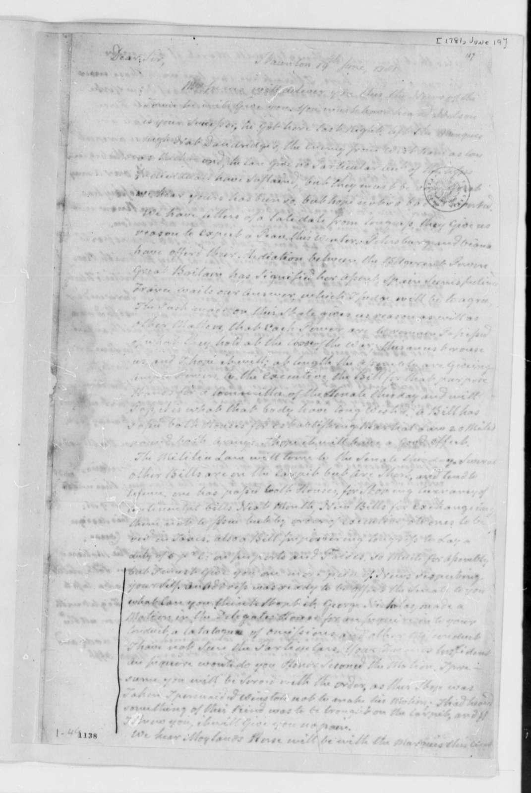 Archibald Cary to Thomas Jefferson, June 19, 1781