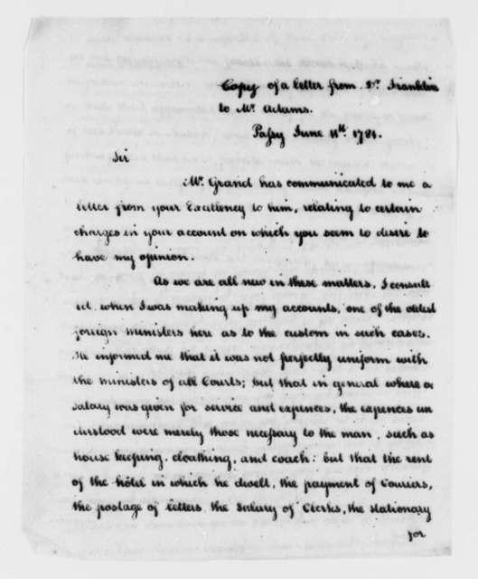 Benjamin Franklin to John Adams, June 11, 1781
