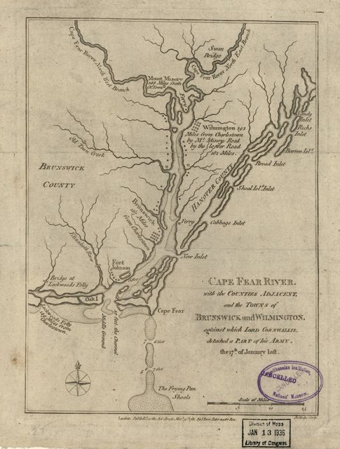 Cape Fear River, with the counties adjacent, and the towns of Brunswick and Wilmington, against which Lord Cornwallis, detached a part of his army, the 17th of January laft Jno. Lodge, sculp.