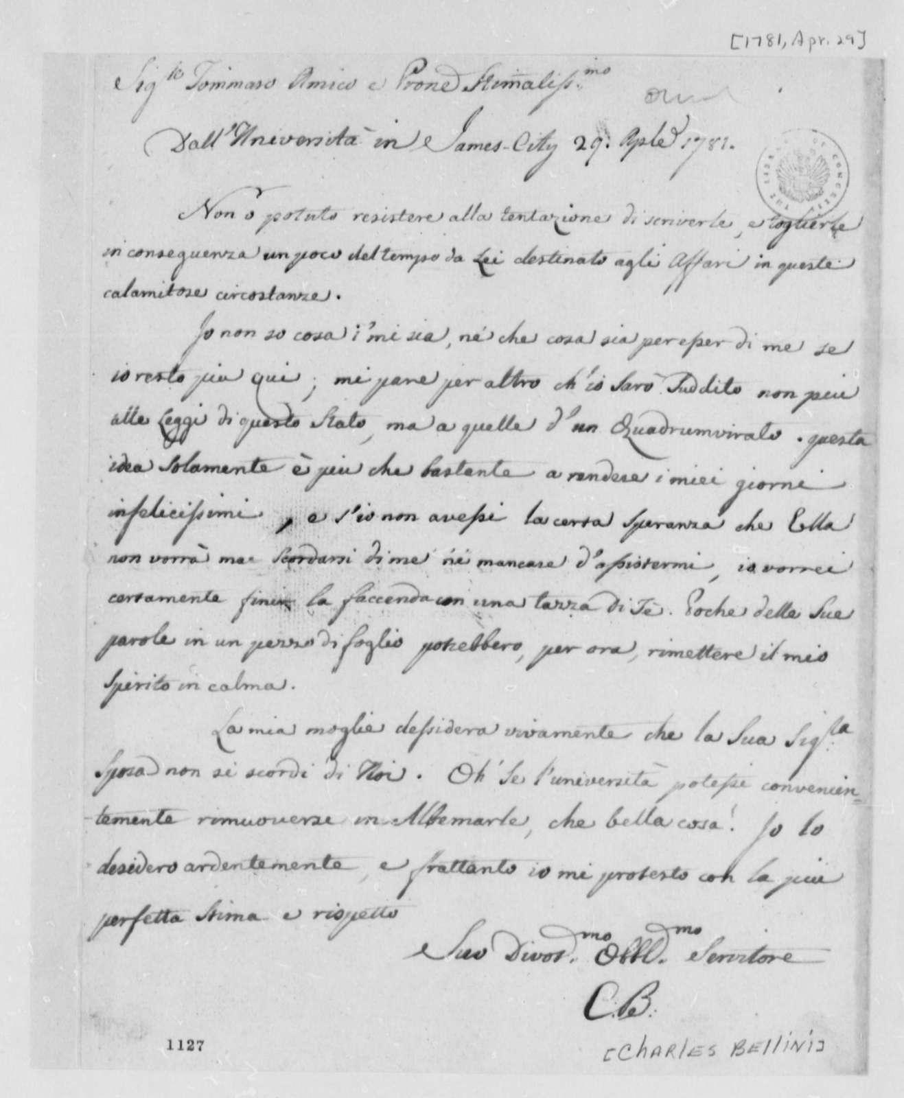 Charles Bellini to Thomas Jefferson, April 29, 1781, in Italian