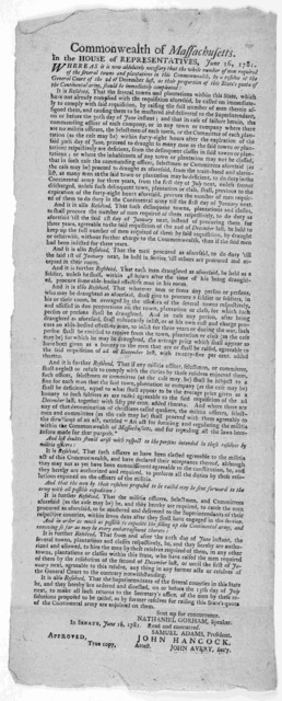 Commonwealth of Massachusetts. In the House of representatives. June 16, 1781. Whereas it is now absolutely necessary that the whole number of men required of the several towns and plantations in this Commonwealth ... [Boston, Printed by Benjami