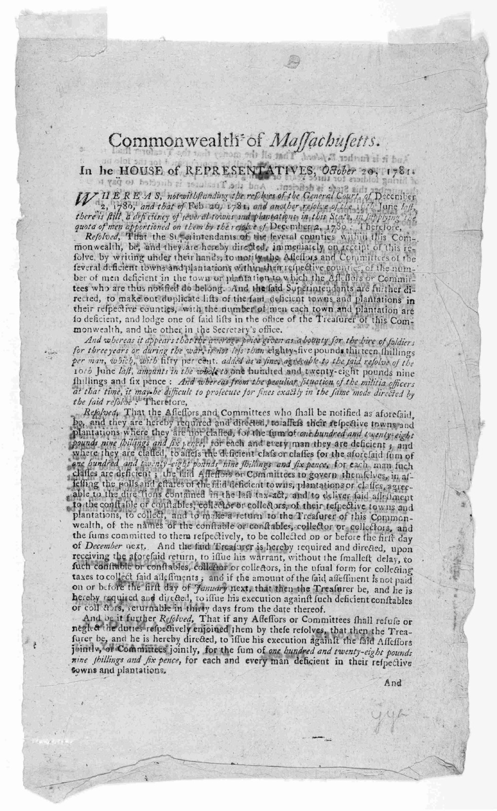 Commonwealth of Massachusetts. In the House of representatives, October 20, 1781. Whereas notwithstanding the resolves of the General Court, of December 2, 1780, and that of Feb. 26, 1781, and another resolve of the 16th June last ...[Boston: Pr