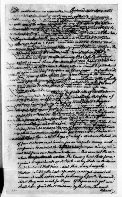 David Jameson to James Madison, April 7, 1781.