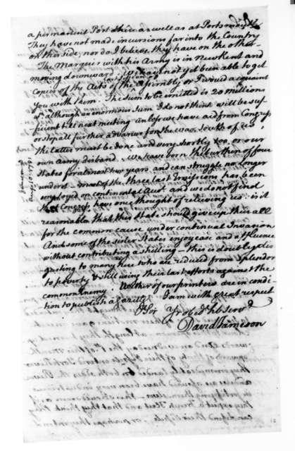David Jameson to James Madison, August 10, 1781.