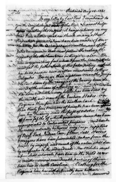 David Jameson to James Madison, August 15, 1781.