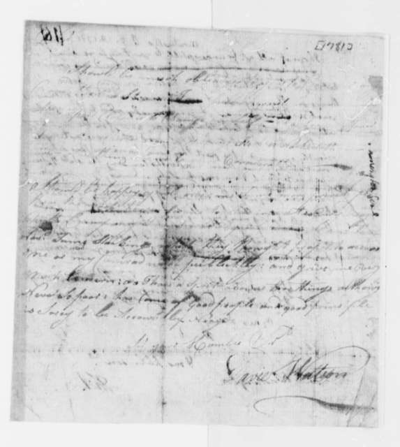 David Wattson to Thomas Jefferson, 1781