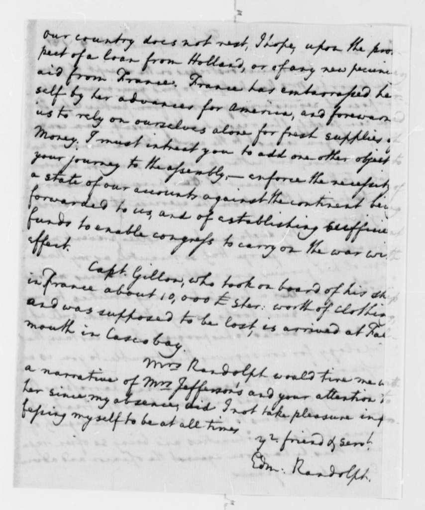 Edmund Randolph to Thomas Jefferson, October 9, 1781