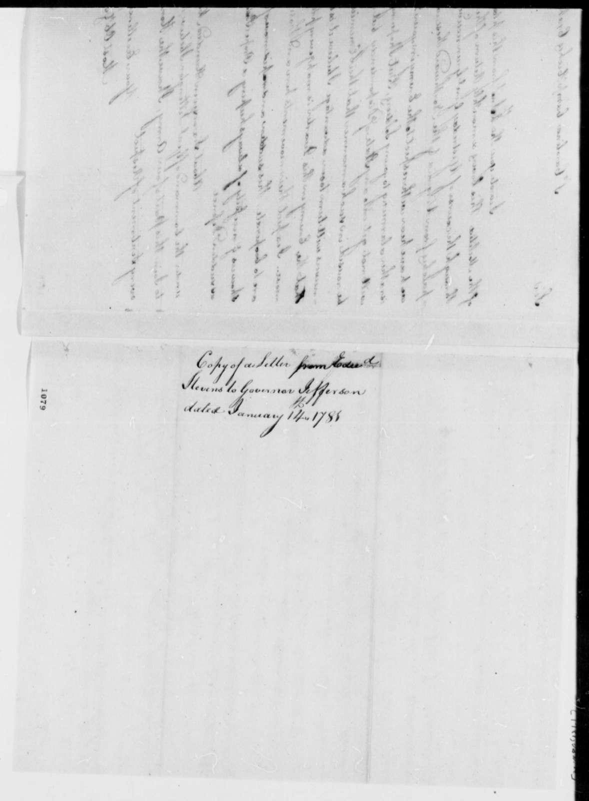 Edward Stevens to Thomas Jefferson, January 14, 1781