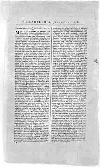 Extract of a letter from Trenton, dated. Jan. 20, 1781 [Giving an account of the British intrigue with the revolted Pennsylvania line dated. Philadelphia. January 22, 1781] [Philadelphia: Printed by David C. Claypoole].