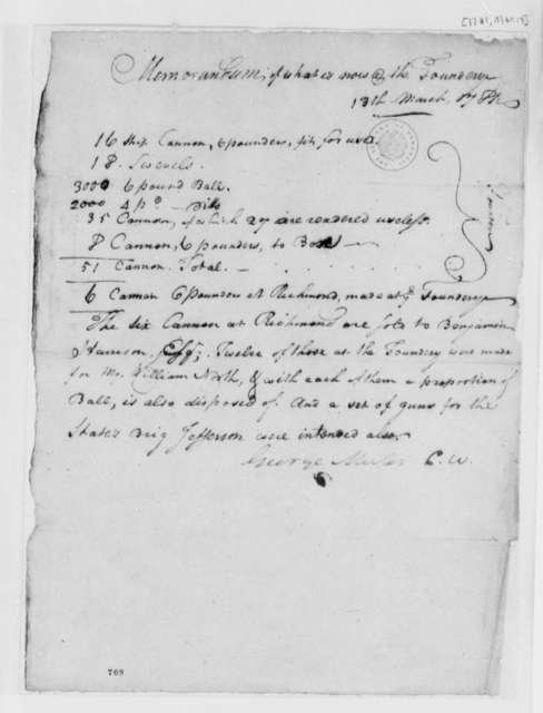 George Muter, March 13, 1781, Memorandum of Cannon and Ball Available at Foundry; with List