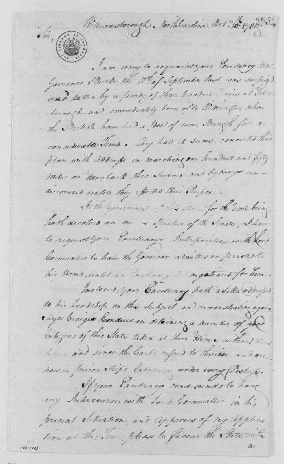 George Washington Papers, Series 4, General Correspondence: Alexander Martin to George Washington, October 10, 1781