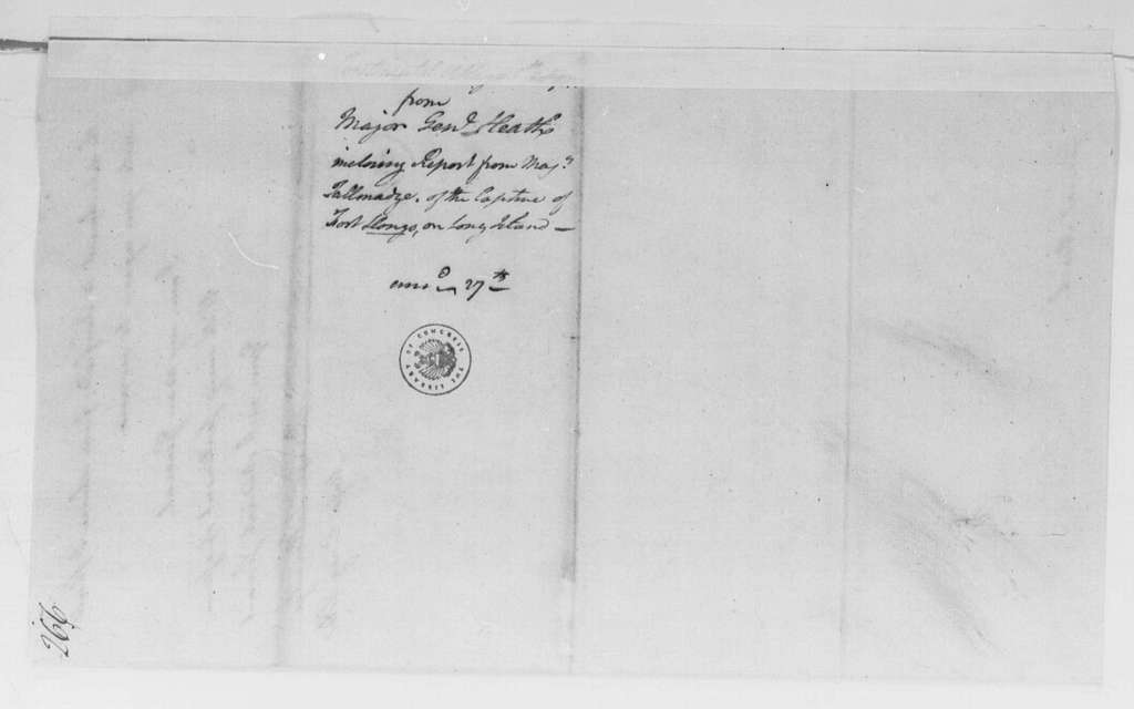 George Washington Papers, Series 4, General Correspondence: Benjamin Tallmadge to William Heath, October 3, 1781