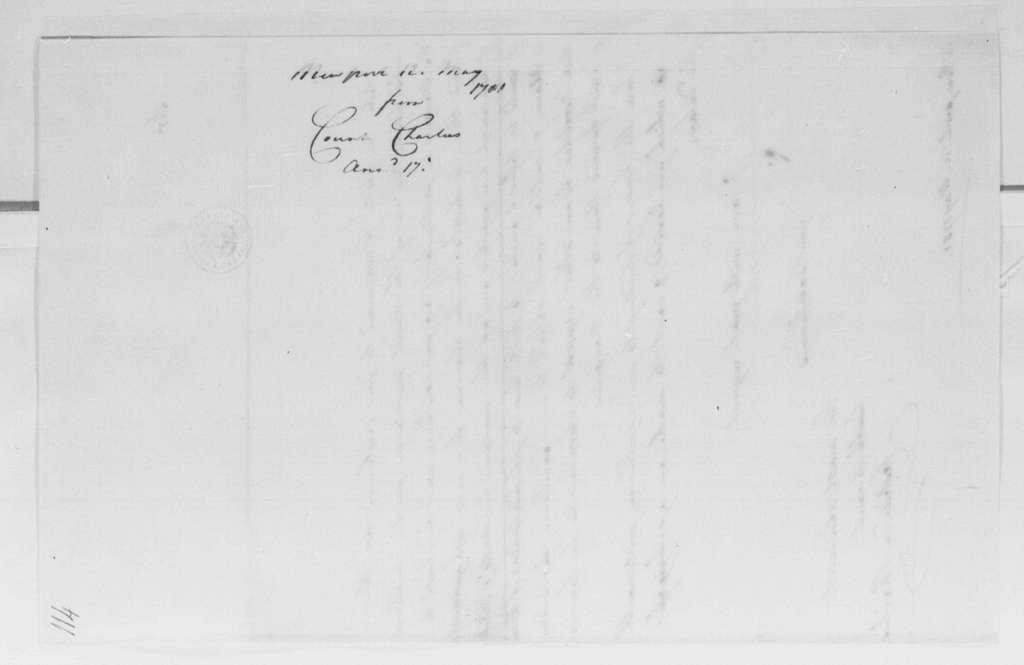 George Washington Papers, Series 4, General Correspondence: Comte de Charlus to George Washington, May 12, 1781