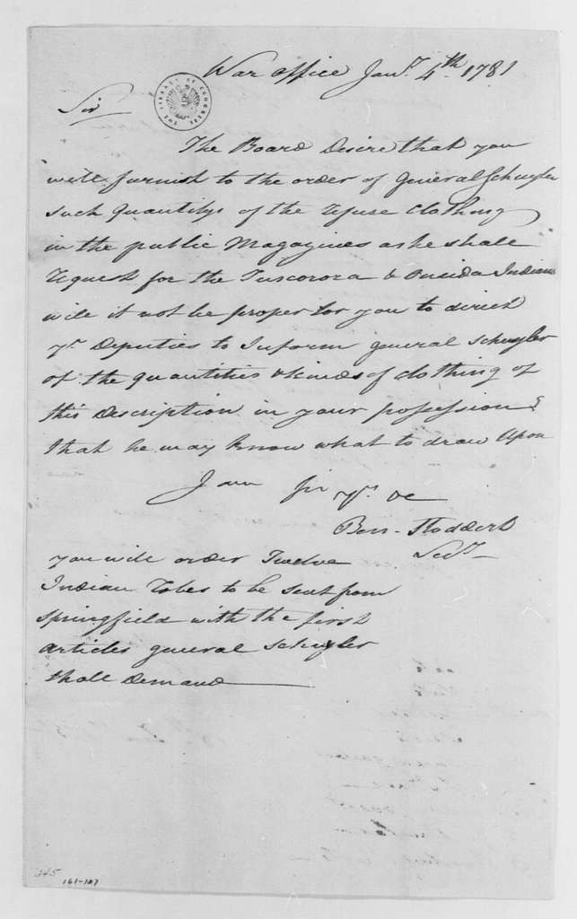 George Washington Papers, Series 4, General Correspondence: Continental Congress War Board to Tench Tilghman, January 4, 1781