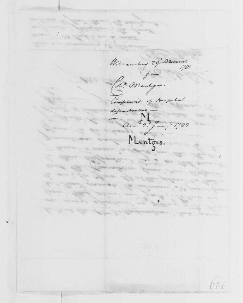 George Washington Papers, Series 4, General Correspondence: Francis Mentges to George Washington, November 29, 1781