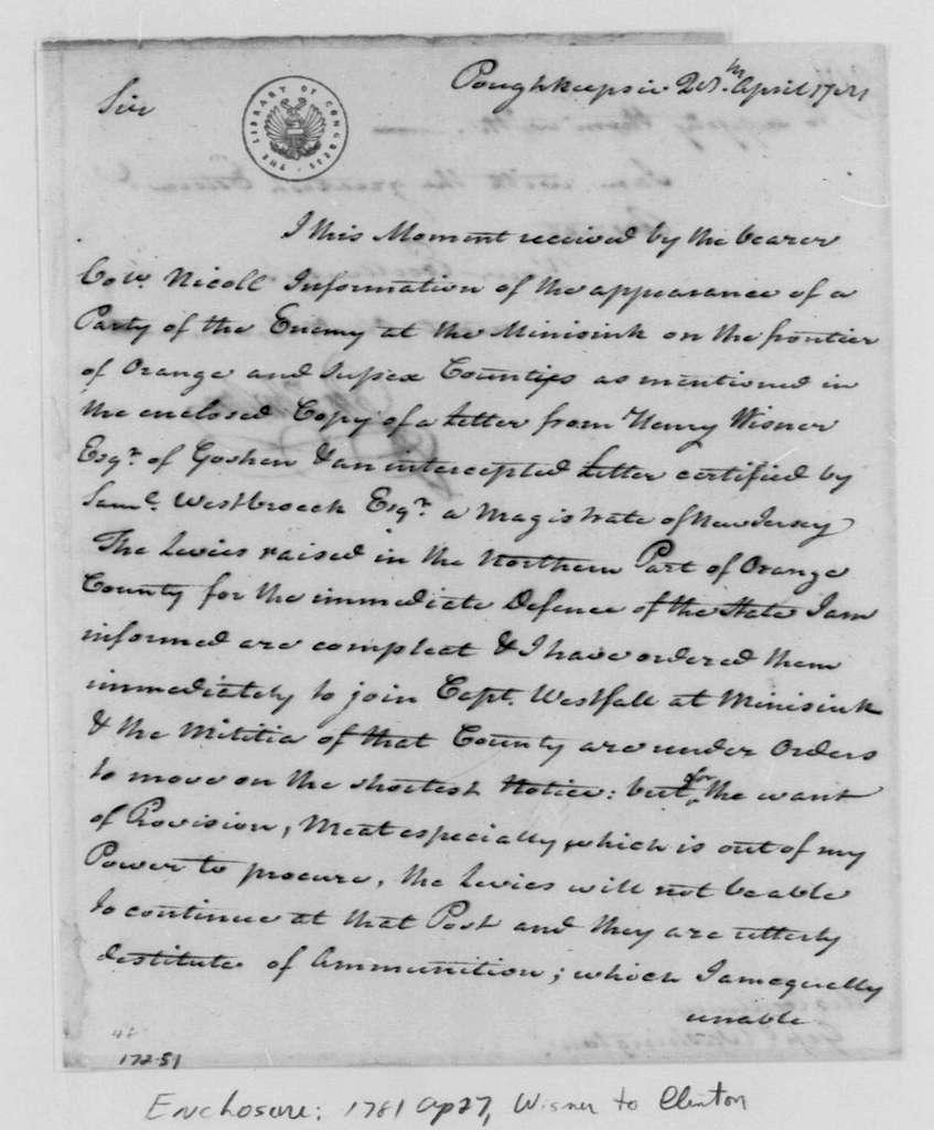 George Washington Papers, Series 4, General Correspondence: George Clinton to George Washington, April 28, 1781
