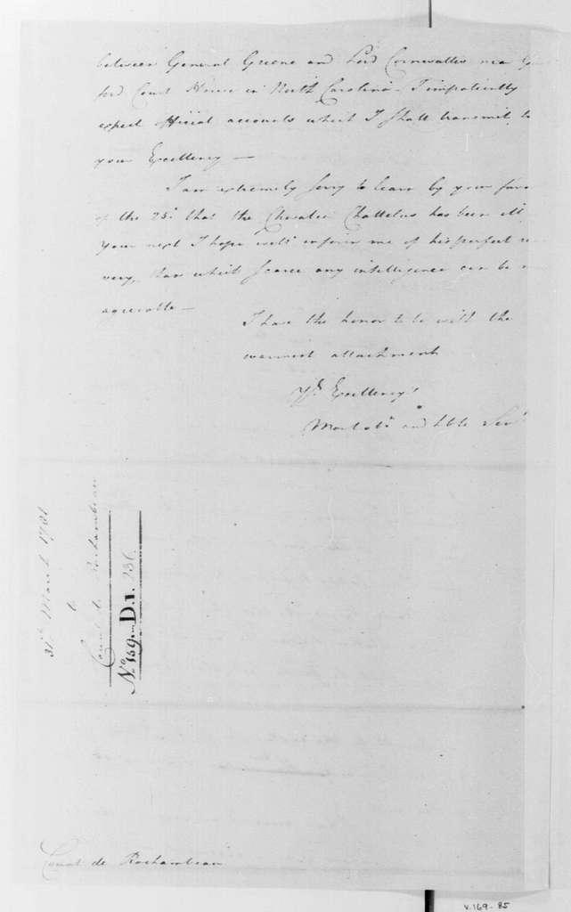 George Washington Papers, Series 4, General Correspondence: George Washington to Jean B. Donatien de Vimeur, Comte de Rochambeau, March 31, 1781