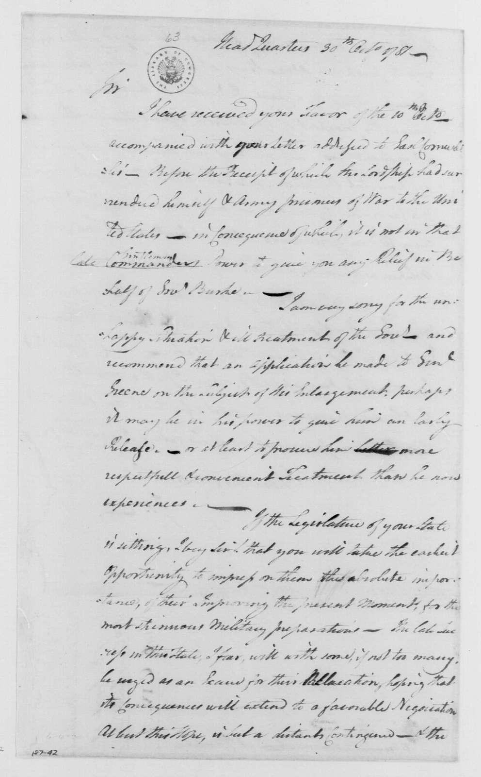 George Washington Papers, Series 4, General Correspondence: George Washington to Alexander Martin, October 30, 1781