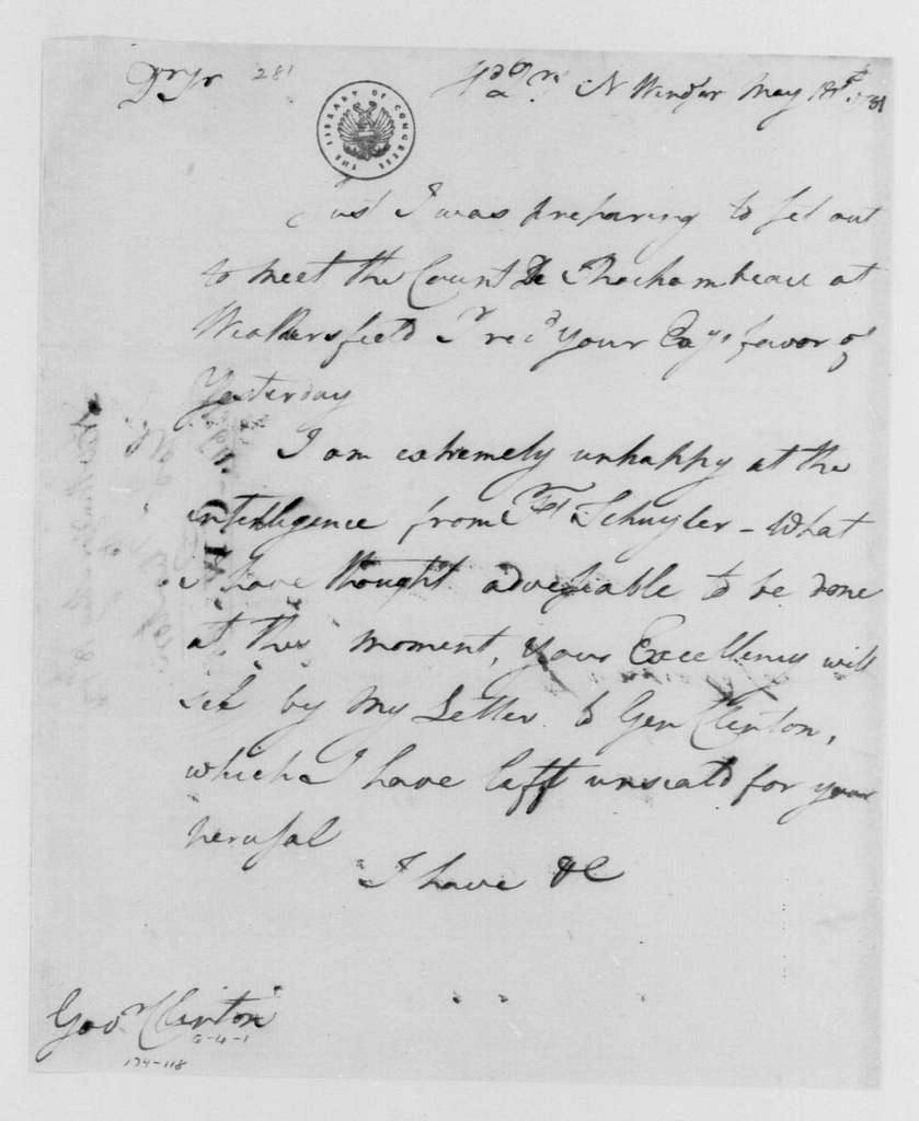 George Washington Papers, Series 4, General Correspondence: George Washington to George Clinton, May 18, 1781