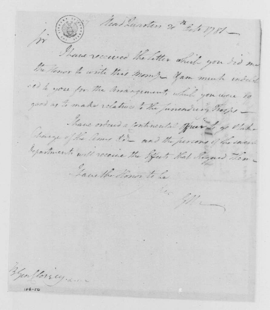 George Washington Papers, Series 4, General Correspondence: George Washington to Claude Gabriel, Duc de Choisy, October 20, 1781