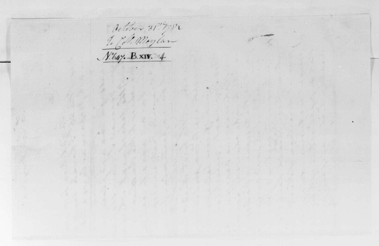 George Washington Papers, Series 4, General Correspondence: George Washington to Stephen Moylan, October 31, 1781
