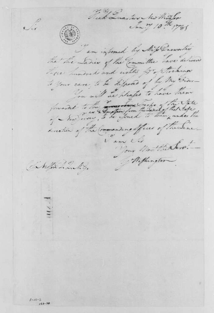 George Washington Papers, Series 4, General Correspondence: George Washington to John Neilson, January 10, 1781