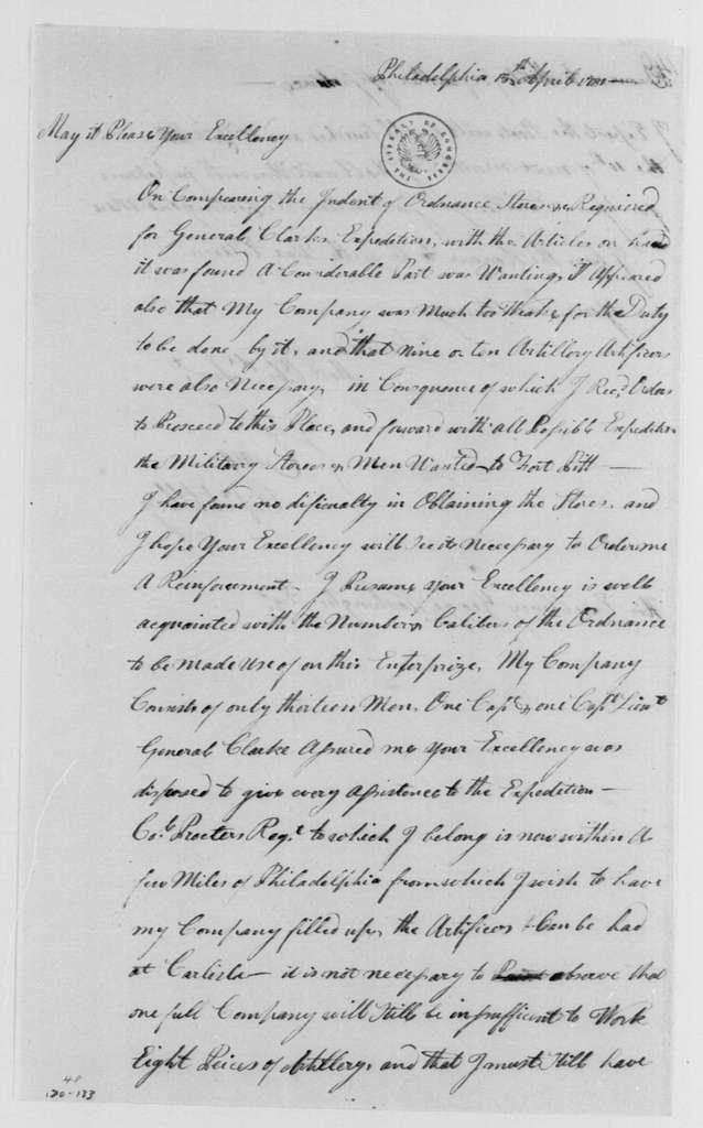 George Washington Papers, Series 4, General Correspondence: Isaac Craig to George Washington, April 15, 1781