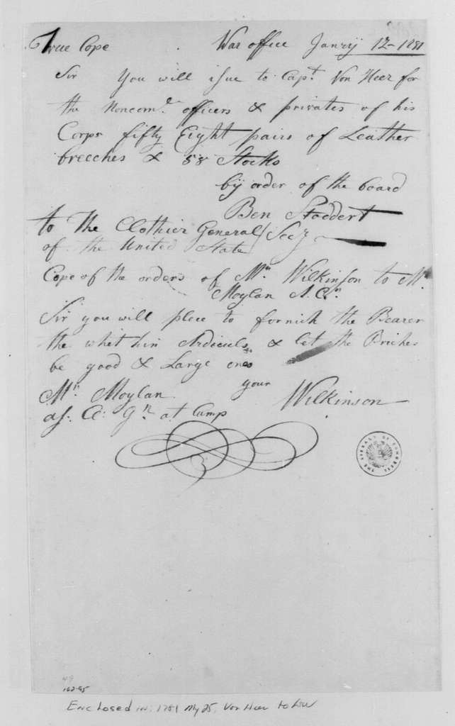 George Washington Papers, Series 4, General Correspondence: James Wilkinson to John Moylan, January 12, 1781