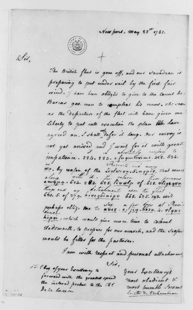 George Washington Papers, Series 4, General Correspondence: Jean B. Donatien de Vimeur, Comte de Rochambeau to George Washington, May 28, 1781, Partially in Code