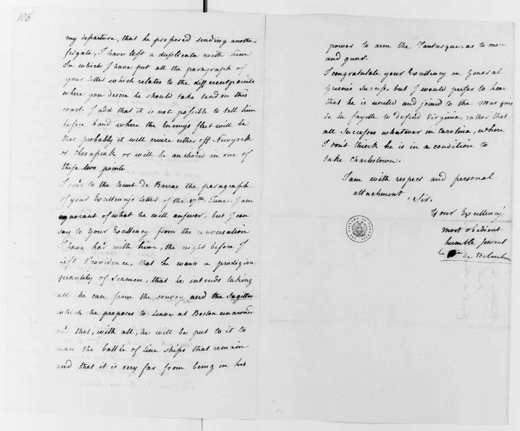 George Washington Papers, Series 4, General Correspondence: Jean B. Donatien de Vimeur, Comte de Rochambeau to George Washington, June 20, 1781