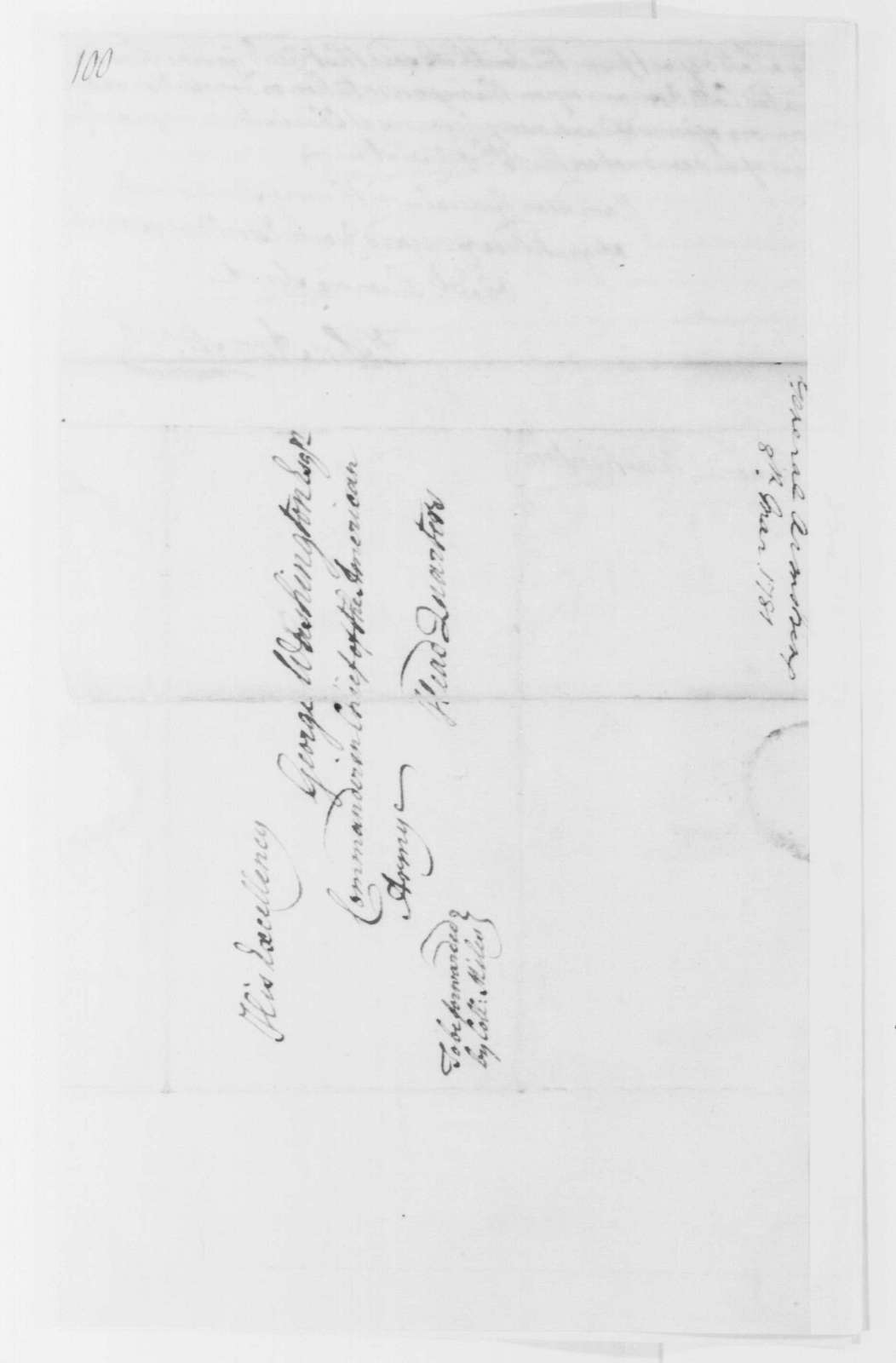 George Washington Papers, Series 4, General Correspondence: John Armstrong to George Washington, March 8, 1781