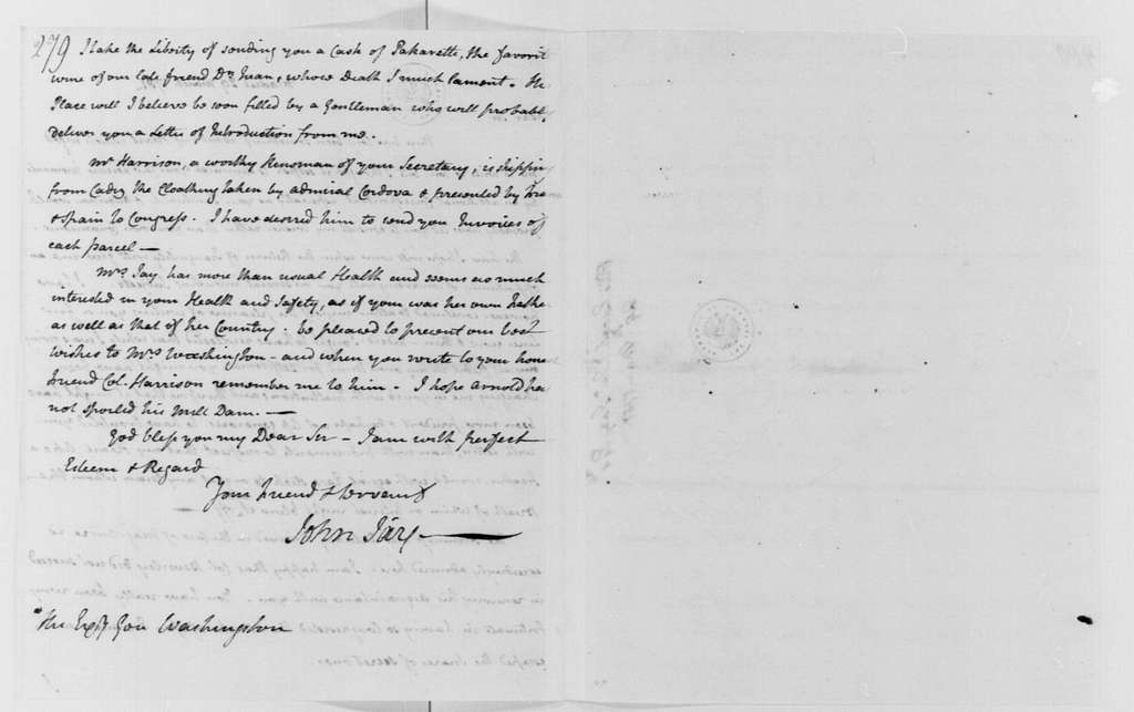 George Washington Papers, Series 4, General Correspondence: John Jay to George Washington, March 29, 1781