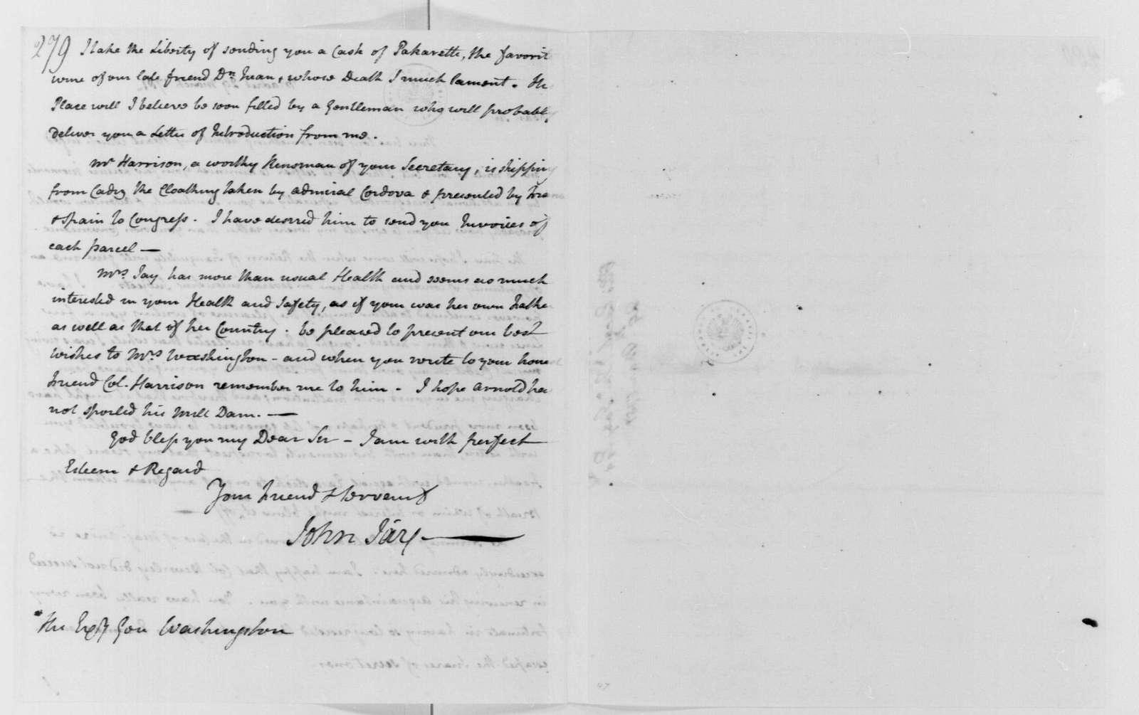 George Washington Papers, Series 4, General Correspondence: John Jay to George Washington, March 29, 1781