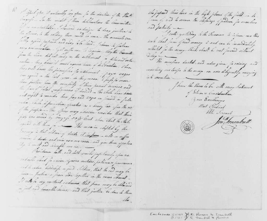 George Washington Papers, Series 4, General Correspondence: Jonathan Trumbull to George Washington, July 17, 1781