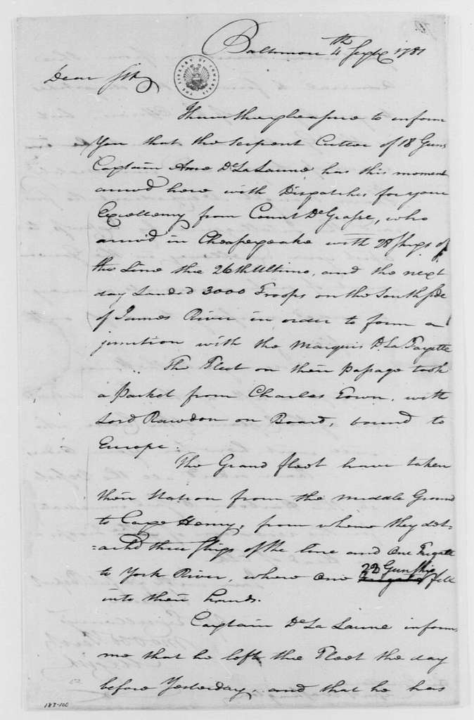 George Washington Papers, Series 4, General Correspondence: Mordecai Gist to George Washington, September 4, 1781