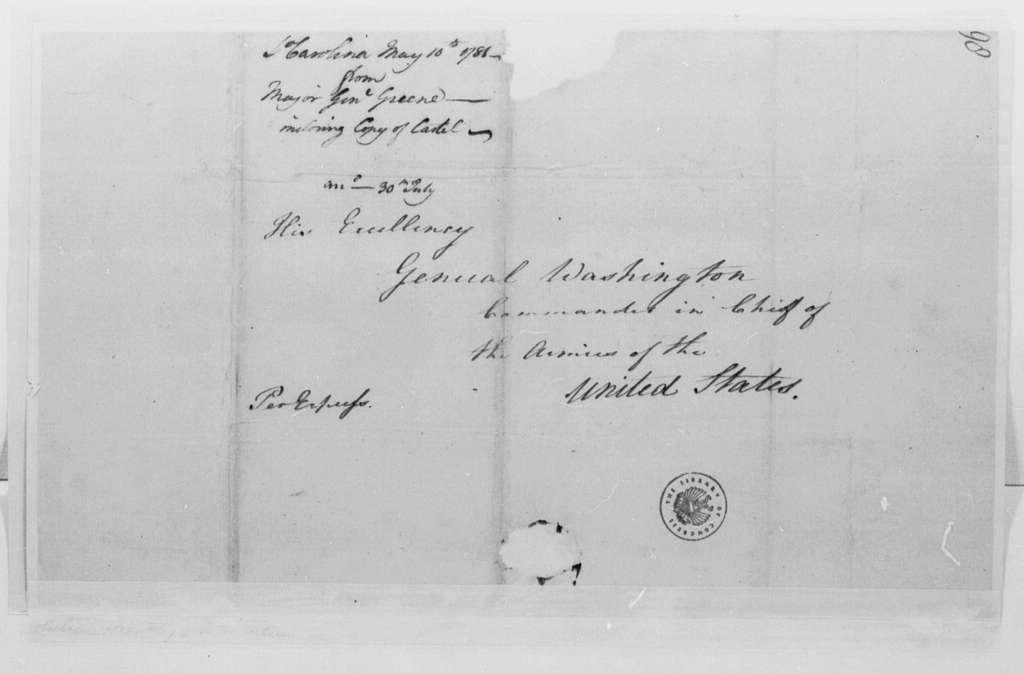 George Washington Papers, Series 4, General Correspondence: Nathanael Greene to George Washington, May 10, 1781
