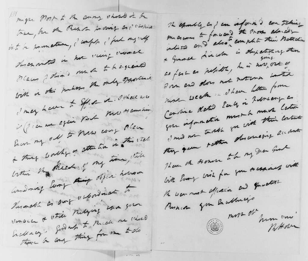 George Washington Papers, Series 4, General Correspondence: Robert Howe to George Washington, April 19, 1781