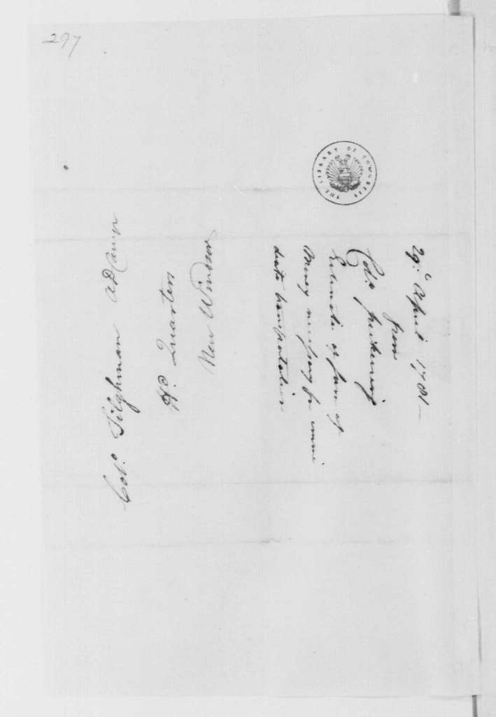George Washington Papers, Series 4, General Correspondence: Timothy Pickering to Tench Tilghman, April 29, 1781, with Estimate on Transportation