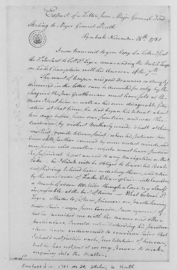 George Washington Papers, Series 4, General Correspondence: William Alexander, Lord Stirling to William Heath, November 18, 1781