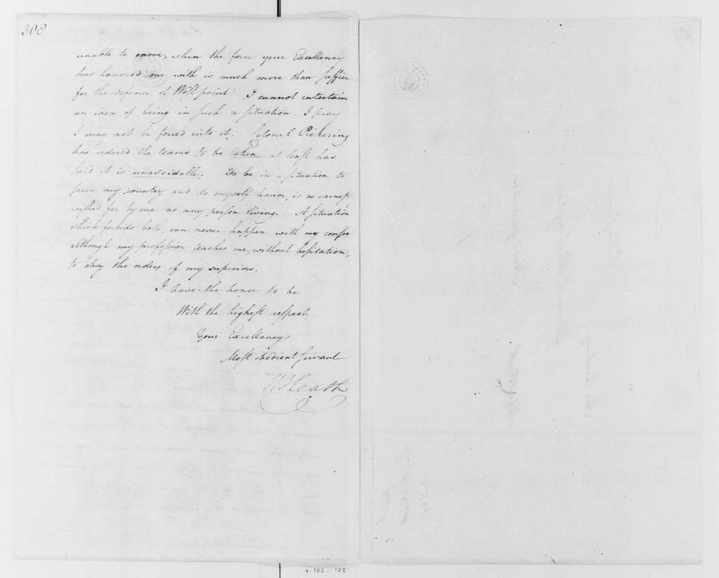 George Washington Papers, Series 4, General Correspondence: William Heath to George Washington, August 23, 1781