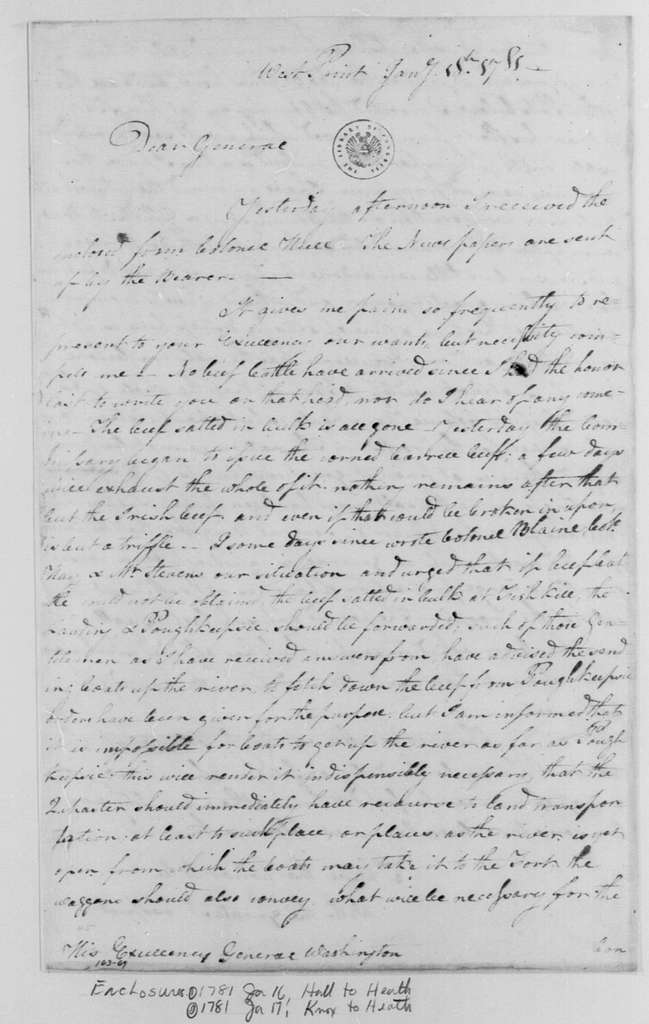 George Washington Papers, Series 4, General Correspondence: William Heath to George Washington, January 18, 1781