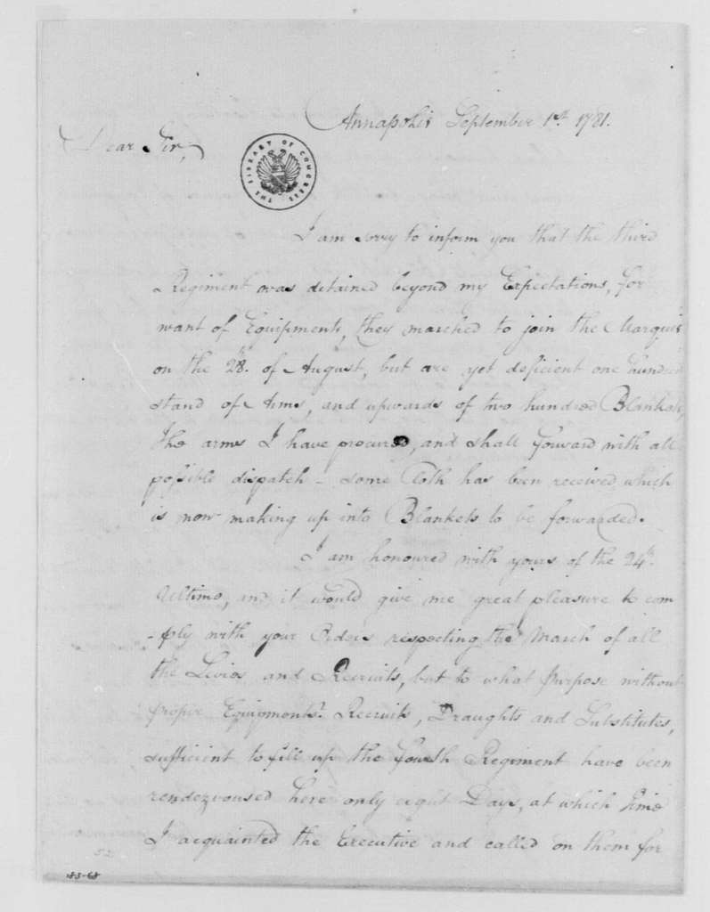 George Washington Papers, Series 4, General Correspondence: William Smallwood to George Washington, September 1, 1781